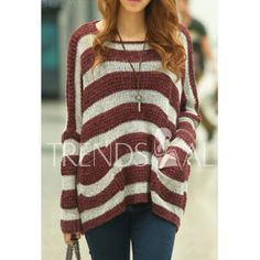 $13.36 Stylish Scoop Neck Striped Long Sleeves Sweater For Women- pretty I want it <3