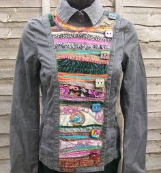 a hand jacket which i have customised using applique, couching, and adding my own handmade buttons by McAnaraks Sewing Blouses, Techniques Couture, Altered Couture, Altering Clothes, Diy Clothing, Recycled Clothing, Diy Fashion, Mantel, Jeans