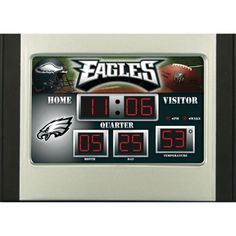 Always know the time and temperature with our licensed scoreboard desk clock featuring your favorite team. Our team scoreboard desk clock shows the time d Bedside Clock, Desk Clock, Alarm Clock, Philadelphia Eagles Apparel, Philadelphia Eagles Merchandise, Clock Display, Eagles Nfl, Tear