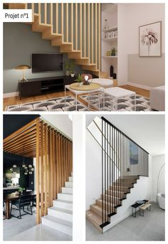 Living Room Partition Design, Room Partition Designs, Interior Staircase, Duplex House Design, Modern Hallway, Wood Stairs, Building A House, Living Spaces, Sweet Home