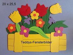 Teddys Fensterbilder 434´ Blumen im Kasten gelb ` Tonkarton