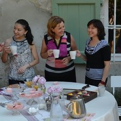 Macaroon themed tea in the chateau garden