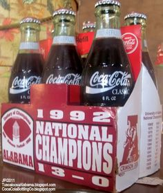 COCA COLA COMMEMORATIVE COKE BOTTLES, UNIVERSITY OF ALABAMA,1992 Undefeated College Football Team, NATIONAL CHAMPIONS