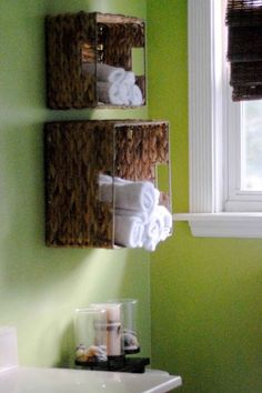 Towel Storage:  Add some texture to your bathroom by organizing towels and other necessities in pretty baskets mounted on the wall.