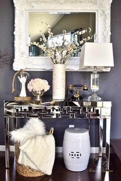 HomeGoods is the only place you need to go when you want to make a statement for guests. I love all these accessories I found for my entryway that really catch your eye when someone walks through the door!  (Sponsored pin) Luxury Office, Bar Cart, Walks, It's Monday, Luxury Home Decor, Design Projects, Exciting News, Face Art, Entryway Tables