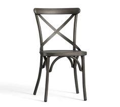X-Back Bistro Chair, Gun Metal | Pottery Barn