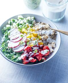 Make-Ahead Vegan Lunch Bowls | Detoxinista (Healthy Creamy Vegan Italian Dressing)