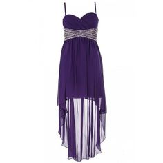 Purple And Silver Chiffon Dip Hem Dress ($96) ❤ liked on Polyvore