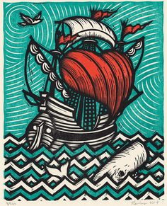 Sea of Love an 11x14 original three-color woodcut by peter nevins