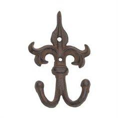 Cast Iron Scrolled Fleur de Lis Double Hook - Brown