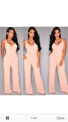 sfq5d6-l-610x610-jumpsuit-pink-jumpuit-light+pink-pastel+pink-blush+pink-baby+pink-blush-necklace-statement+necklace-v+neck-wide+leg-nude-peach-wide+leg+pants-summer-summer+outfits-party-party+outf.jpg (343×610)