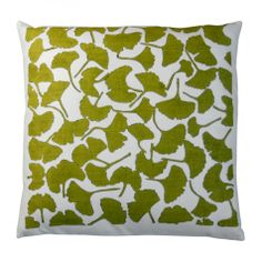 Olive Green Ginkgo Pillow
