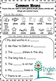common noun worksheets and exercises for first grade and second grade. common nouns are important to understand proper nouns Nouns And Verbs Worksheets, Proper Nouns Worksheet, Nouns And Pronouns, 1st Grade Math Worksheets, Family Worksheet, Number Worksheets, Alphabet Worksheets, English Lessons For Kids, English Worksheets For Kids