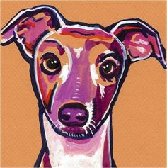 ITALIAN GREYHOUND Artist Signed Watercolor Painting Print RESCUE DOG GRAY HOUND