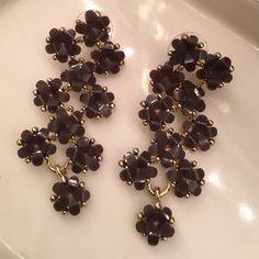 Anthropologie Jewelry - Anthropologie Drop Purple Floral Earrings