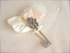 Skeleton Key Boutonniere with pink champagne Lace, bridal Tulle, Velvet leaf for vintage wedding by GracefullyGirly, $24.00