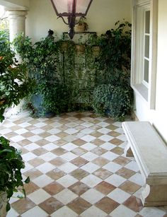 Our Take on Checkered Floors Source unknown, found via Mark D. Sikes Our Take on Checkered Floors Source unknown, found via Mark D. Porch Tile, Patio Tiles, Porch Flooring, Outdoor Tiles, Stone Flooring, Outdoor Rooms, Outdoor Living, Outdoor Decor, White Flooring