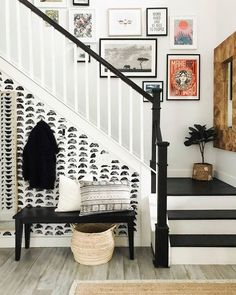 eclectic farmhouse, black and white staircase
