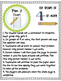 Grab and Teach-- 8 cooperative learning activities Más Cooperative Learning Strategies, Teaching Strategies, Teaching Math, Teaching Resources, Collaborative Strategies, Maths, Teaching Ideas, School Classroom, Classroom Activities