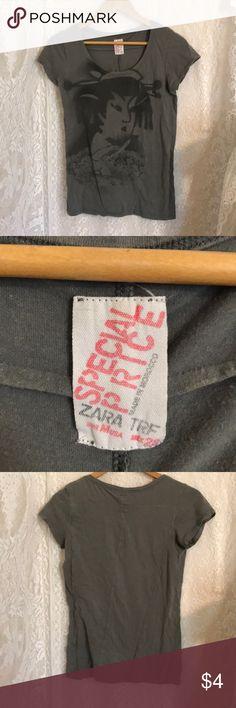 Zara Face Shirt Good Condition  Zara Face Shirt Scoop Neckline Zara Tops Tees - Short Sleeve