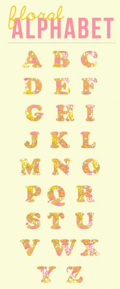 free floral alphabet clipart