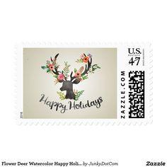 Flower Deer Watercolor Happy Holidays Postage Oct 6 2016 @zazzle #junkydotcom