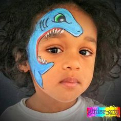 Fierce shark face painting by Glitter-Arty Face Painting Bedford