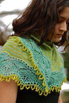 Cladonia, by Kirsten Kapur. stripes:   shawl knitting turquoise  green   ravelry.com