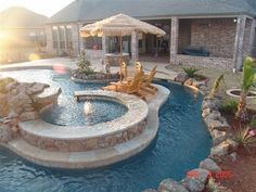 Having a pool sounds awesome especially if you are working with the best backyard pool landscaping ideas there is. How you design a proper backyard with a pool matters. Luxury Swimming Pools, Luxury Pools, Swimming Pools Backyard, Dream Pools, Swimming Pool Designs, Pool Landscaping, Lazy River Pool, Backyard Lazy River, Modern Backyard