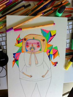 psychedelic neon drawing painting ugly people