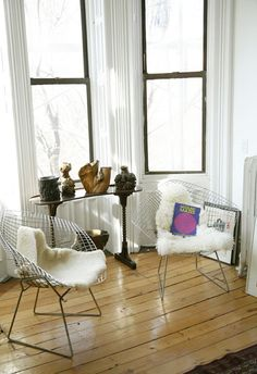 Of Bertoia Chairs With Sheepskins Repin Via Geo Cabral Wire Chair Living