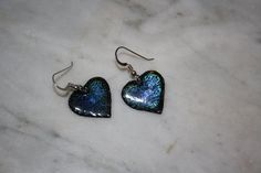 Teal blue heart etched & enameled earrings.  These by KineticArts, $35.00