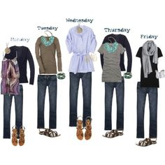A few basics, mixed and matched for an easy one week wardrobe!!  Another reminder that I need to clear out my closet.