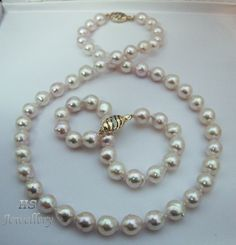 HS #Baroque #Akoya Cultured #Pearl 9X10mm #14K w/ #Diamonds #Necklace & #Bracelet Set #Jewelry #Anniversary #Bridal