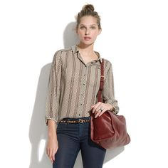 Silk Dotline Blouse    Cute blouse from Madewell ^.^