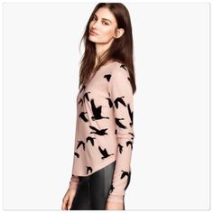 H&M soft bird top Pink drape bird top. Made of a soft rayon material. Size S. Brand new with tags H&M Tops Blouses