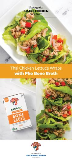 Thai Chicken Lettuce Wraps, Lettuce Wrap Recipes, Thai Dishes, Food Dishes, Asian Foods, Asian Recipes, Chicken Brands, Bacon Wrapped Jalapeno Poppers, Bone Broth