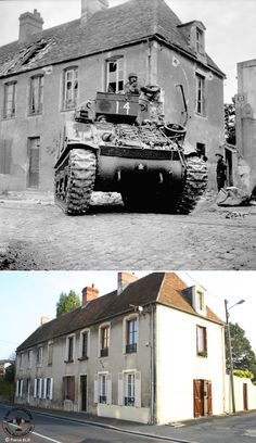 Then & Now: 11 July 1944 -A Sherman tank of the Sherbrooke Fusiliers Regiment advancing into Caen.