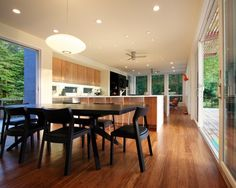 Gorgeous Bamboo floors elongate this space - beautiful color choices!