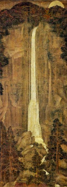 (絹本著色那智滝図, kenpon chakushoku nachi no taki zu)  Kamakura period, 13th–14th century  Hanging scroll, color on silk, 160.7 × 58.8 cm (63.3 × 23.1 in)  Nezu Art Museum, Tokyo