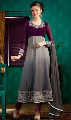 Elevate the elegant luster dressing into this gray and violet shade georgette Anarkali suit. It has been beautifully designed with lace and resham work. #LatestEveingChuridarDresses