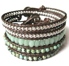 Sweet Pea - Double Wrap African Turquoise on Leather.