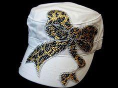 WHiTe CaDeT HaT/CaP---CrYsTaL RhInEsToNe LeOpArD BoW   by DesignsBySuZyT, $19.99