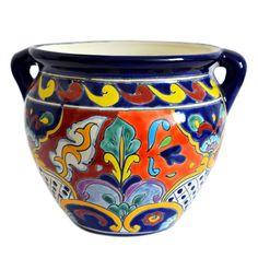 Übertöpfe aus Mexiko mit Muster handbemalt Talavera Kunsthandwerk von Mexambiente Blumentopf mexikanisch Blumengefäß Planzenübertopf #gartendeko #gartendekoration #deko #bunt