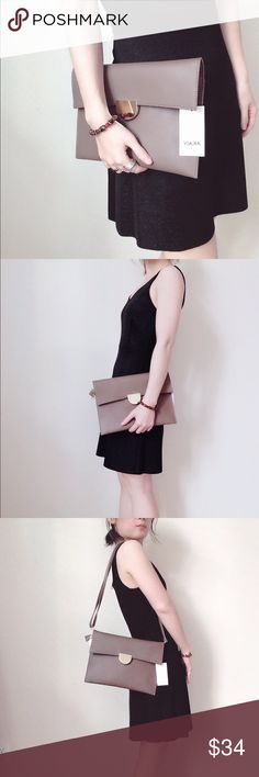 """Minimalism clutches Basic minimal style clutches. One click button closure. Smooth touch.  Removable and adjustable strap makes it double as a shoulder bag. Two inside pockets. Brand New with Tag and dust bag. Size 11.5"""" by 8"""". Available colors: Black, Taupe, Brown. ❤️sound price firm 🚫no trade AKAIV Los Angeles  Bags Clutches & Wristlets"""