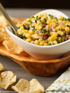 Almost Chipotle's Corn and Roasted Poblano Salsa | Garnish with Lemon