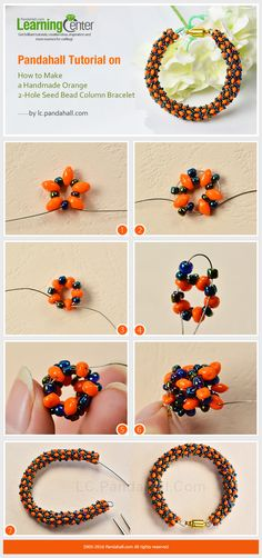 Pandahall Tutorial on How to Make a Handmade Orange 2-Hole Seed Bead Column Bracelet from LC.Pandahall.com