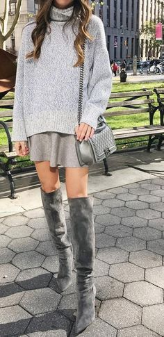 #fall #fashion ·  Grey Sweater & Skirt & Knee Length Boots