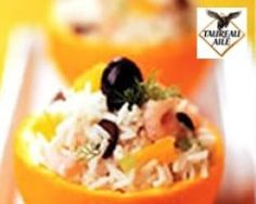 Salade de riz Thaï Primeur aux crevettes, oranges, fenouil et olives Orange, Olives, Tacos, Mexican, Ethnic Recipes, Food, Shrimp Bake, Rice Salad, Fennel