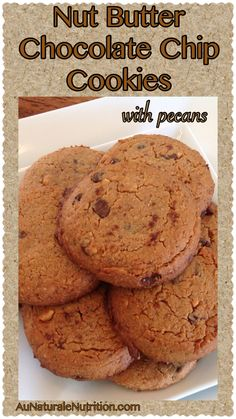 Ultra-decadent NutButter Chocolate Chip Cookies with Pecans. You'll think you've gone to heaven! (gluten free, grain free, dairy free, paleo) By Jenny by www. Paleo Sweets, Gluten Free Sweets, Paleo Dessert, Gluten Free Recipes, Dessert Recipes, Keto Recipes, Grain Free, Dairy Free, Whole Food Recipes
